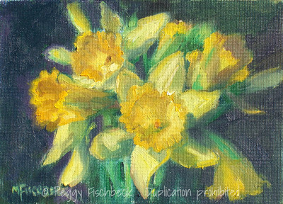 Daffodil study 5x7  oil on canvas panel