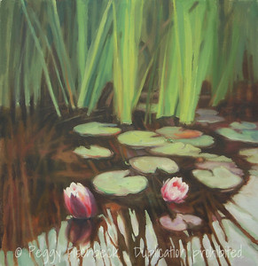 Waterlilies, 20x20, Oil on Canvas  - displayed at Therapy Specialists, 2751 Roosevelt Rd, Liberty Station