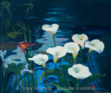 Lilies in a Garden Pond, 20x24, oil on canvas  F0506