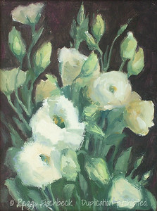 Lisianthus, 9x12, oil on canvas board