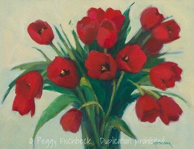 Red Tulips, 14x18, oil on canvas    F0513