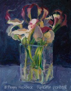 Lilies in Glass Vase, 11x14, oil on canvas