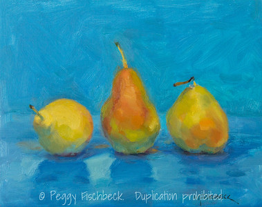 Three Pears on Blue, 8x10, oil panel  SOLD