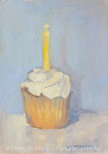 Birthday Cupcake, 5x7, oil panel  SOLD
