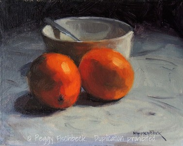 Two Oranges and A Bowl, 8x10, oil panel - SOLD