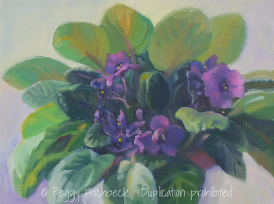African Violets, 9x12, oil on canvas  SOLD