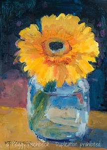 Yellow Gerber, 5x7, oil panel  SOLD F0508