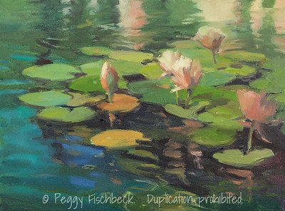Waterlilies - for Ronne and Linden, 12x16, oil   NA