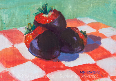 Chocolat Covered Strawberries, 8x10, oil - donation to Visions Art Museum fundraiser - SOLD
