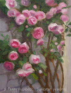 Rose Trellis, Giverny  11x14  Oil on canvas  SOLD