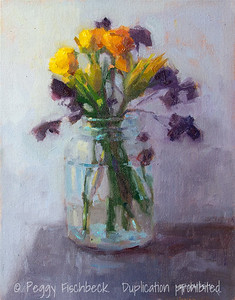 Flowers in a Mason Jar, 11x14, oil panel - SOLD