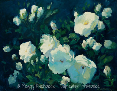 White Roses in the Garden, 11x14, oil on linen panel  F0520 SOLD