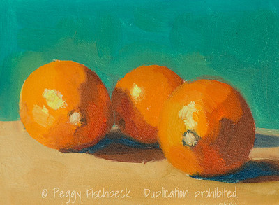 Three Oranges, 5x7, oil panel   SOLD F0509