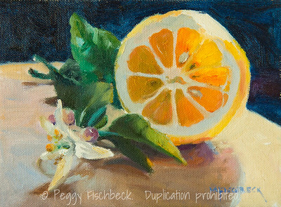 Sunshine on a Meyer Lemon, 6x8, oil panel - at SCOUT Quarters D E0452  SOLD