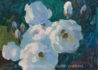 White Roses, 5x7, oil panel - SOLD  F0507