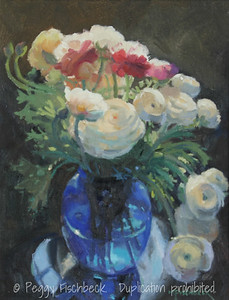Ranunculus in Blue Vase, 11x14, oil panel - SOLD
