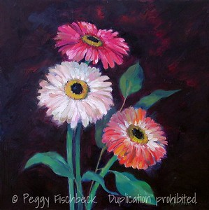 Gerber Daisies18x18  oil on canvas SOLD
