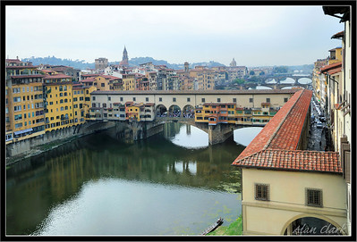 Arno River and Ponte Vecchio bridge from Uffizi Museum