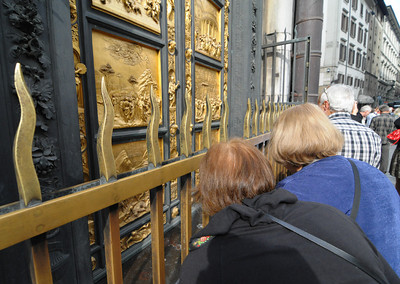 Baptistry doors with protective fence