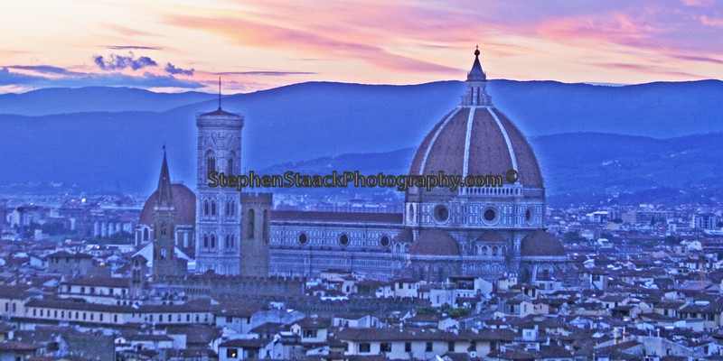 The Cathederal Florence, Italy. The tall structure seen on the left is the Giotto's Campanile or bell tower.