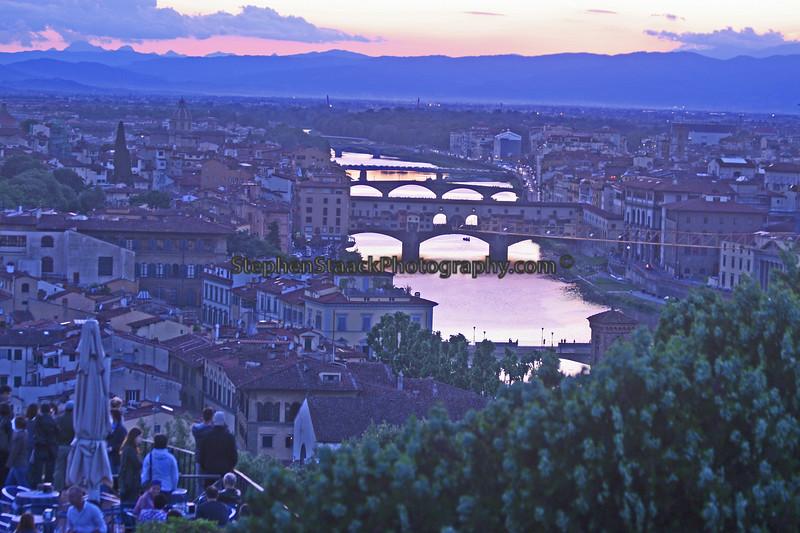 The river Arno runs under several of Florence's bridges including the Porta Vecchio,  the Medieval bridge.