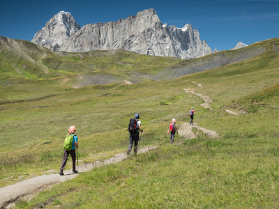 Hiking towards The Grandes Jorasses