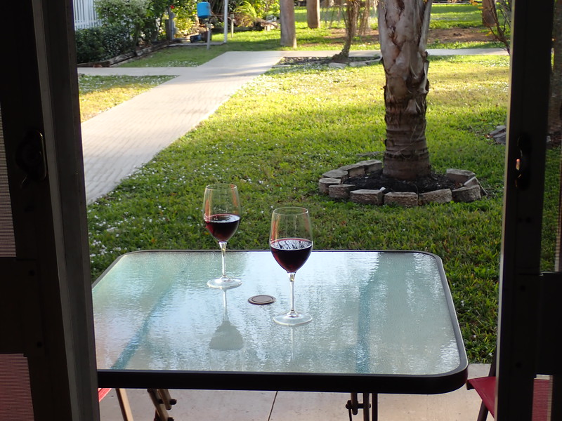 A view out our sliding glass door, our own little table