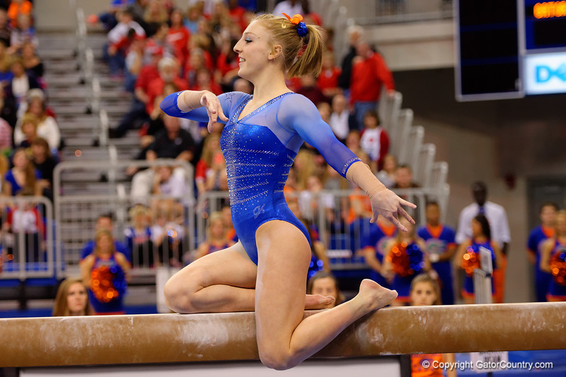 Florida Gators gymnast Alex McMurtry performs on the balance beam.  Florida Gators Gymnastics vs Georgia Bulldogs.  January 30th, 2015. Gator Country photo by David Bowie.