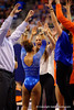 The Gators congratulate Kytra Hunter after she scored a 9.975 on vault.  Florida Gators Gymnastics vs Georgia Bulldogs.  January 30th, 2015. Gator Country photo by David Bowie.