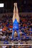Florida Gators gymnast Bianca Dancose-Giambattisto performs her uneven bars routine.  Florida Gators Gymnastics vs Georgia Bulldogs.  January 30th, 2015. Gator Country photo by David Bowie.