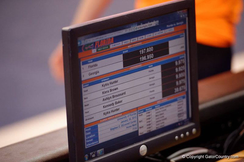 A computer screen shows the final score, Florida Gators over the Georgia Bulldogs, 197.600 to 196.950.  Florida Gators Gymnastics vs Georgia Bulldogs.  January 30th, 2015. Gator Country photo by David Bowie.