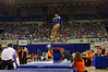 Florida Gators gymnast Kennedy Baker performs her vault routine.  Florida Gators Gymnastics vs Georgia Bulldogs.  January 30th, 2015. Gator Country photo by David Bowie.