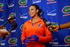 Florida Gators gymnast Kennedy Baker giving an interview following the win over Georgia.  Florida Gators Gymnastics vs Georgia Bulldogs.  January 30th, 2015. Gator Country photo by David Bowie.