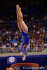 Florida Gators gymnast Ericha Fassbender performs on the vault.  Florida Gators Gymnastics vs Georgia Bulldogs.  January 30th, 2015. Gator Country photo by David Bowie.