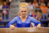 Florida Gators gymnast Rachel Spicer prepares to perform on the balance beam.  Florida Gators Gymnastics vs Georgia Bulldogs.  January 30th, 2015. Gator Country photo by David Bowie.