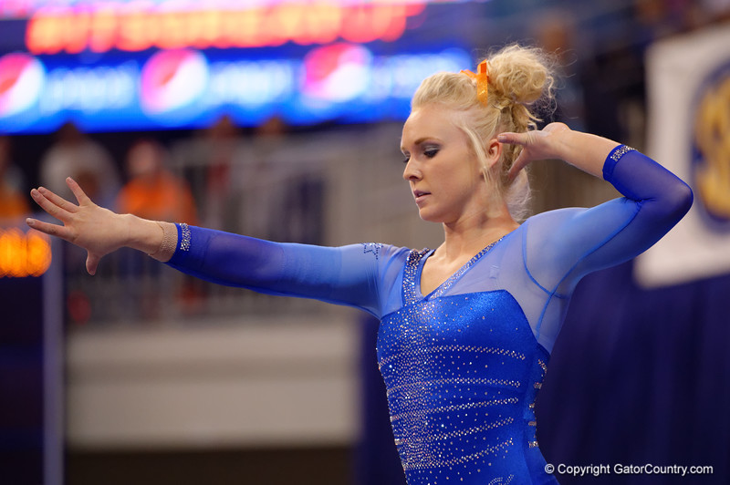 Florida Gators gymnast Rachel Spicer performs on the balance beam.  Florida Gators Gymnastics vs Georgia Bulldogs.  January 30th, 2015. Gator Country photo by David Bowie.