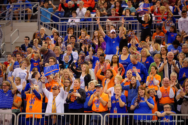 The Florida Gator fans chant for a perfect 10 score for Kytra Hunter.  Florida Gators Gymnastics vs Georgia Bulldogs.  January 30th, 2015. Gator Country photo by David Bowie.