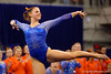 Florida Gators gymnast Bridgette Caquatto performs her routine during the floor exercise.  Florida Gators Gymnastics vs Georgia Bulldogs.  January 30th, 2015. Gator Country photo by David Bowie.
