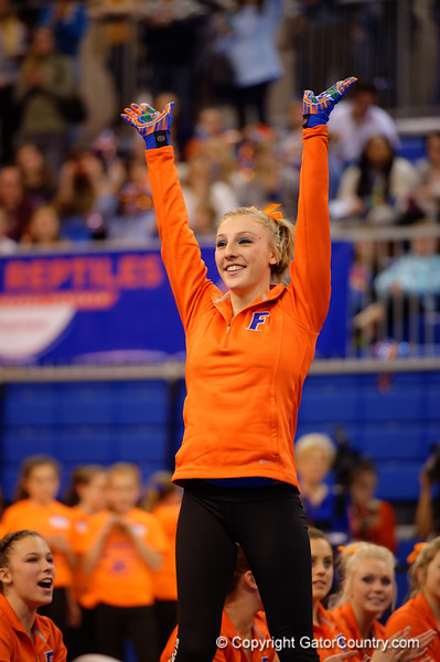 Florida Gators gymnast Alex McMurtry waves to the crowd.  Florida Gators Gymnastics vs Georgia Bulldogs.  January 30th, 2015. Gator Country photo by David Bowie.