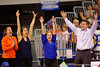 The Gators celebrate after gymnast Bridgette Caquatto nailed her jumps during the floor exercise.  Florida Gators Gymnastics vs Georgia Bulldogs.  January 30th, 2015. Gator Country photo by David Bowie.
