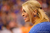 Florida Gators gymnastics head coach Rhonda Faehn smiles as she watches her team compete.  Florida Gators Gymnastics vs Georgia Bulldogs.  January 30th, 2015. Gator Country photo by David Bowie.