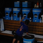 Florida Gators coach Kevin O'Sullivan's son in the dugout before game one of the College World Series.