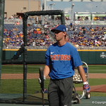 Florida Gators outfielder Ryan Larson takes his swings during batting practice before game one of the College World Series.