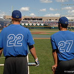 Florida Gators first baseman JJ Schwarz and Nelson Maldonado look as they prepare for the LSU game.