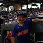 Florida Gators coach Kevin O'Sullivan's son before game one of the College World Series finals.