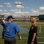 Florida Gators catcher Mike Rivera talks with Laura Rutledge before the College World Series against LSU.