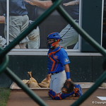 Florida Gators catcher Mike Rivera prepare for game one of the College World Series on Monday night.