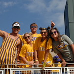 LSU fans gather to watch the Florida Gators in game 2 of the CWS finals against the LSU Tigers on Tuesday. GatorCountry photo taken by Nick de la Torre.
