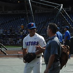 Florida Gators head coach Kevin O'Sullivan prepares for game 2 of the CWS finals against the LSU Tigers on Tuesday. GatorCountry photo taken by Nick de la Torre.