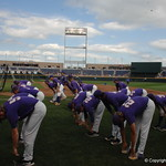 The LSU Tigers prepare for game 2 of the CWS finals against the Florida Gators on Tuesday. GatorCountry photo taken by Nick de la Torre.